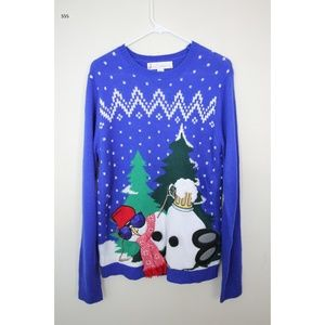 Sweaters - M Blue Jolly Sweaters Snowman Sunglasses Christmas